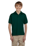 Forest Green DryBlend Youth 5.6 oz., 50/50 Jersey Polo as seen from the front