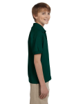 Forest Green DryBlend Youth 5.6 oz., 50/50 Jersey Polo as seen from the sleeveleft