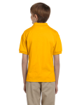 Gold DryBlend Youth 5.6 oz., 50/50 Jersey Polo as seen from the back