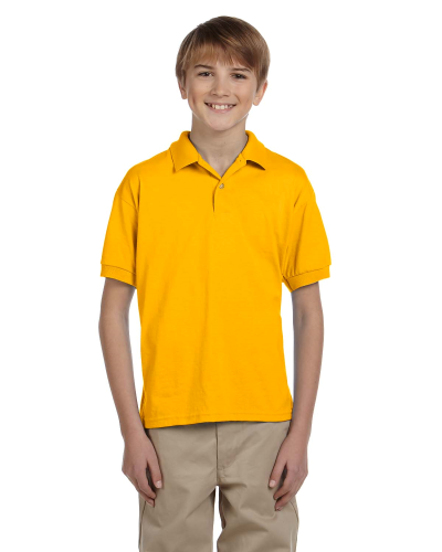 Gold DryBlend Youth 5.6 oz., 50/50 Jersey Polo as seen from the front