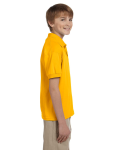 Gold DryBlend Youth 5.6 oz., 50/50 Jersey Polo as seen from the sleeveleft