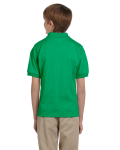 Irish Green DryBlend Youth 5.6 oz., 50/50 Jersey Polo as seen from the back