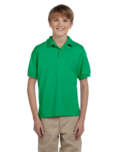 Irish Green DryBlend Youth 5.6 oz., 50/50 Jersey Polo as seen from the front