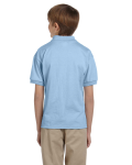 Light Blue DryBlend Youth 5.6 oz., 50/50 Jersey Polo as seen from the back
