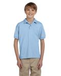 Light Blue DryBlend Youth 5.6 oz., 50/50 Jersey Polo as seen from the front