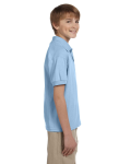 Light Blue DryBlend Youth 5.6 oz., 50/50 Jersey Polo as seen from the sleeveleft
