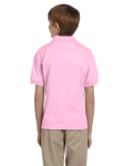 Light Pink DryBlend Youth 5.6 oz., 50/50 Jersey Polo as seen from the back