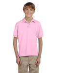 Light Pink DryBlend Youth 5.6 oz., 50/50 Jersey Polo as seen from the front