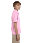 Light Pink DryBlend Youth 5.6 oz., 50/50 Jersey Polo as seen from the sleeveleft