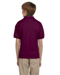 Maroon DryBlend Youth 5.6 oz., 50/50 Jersey Polo as seen from the back
