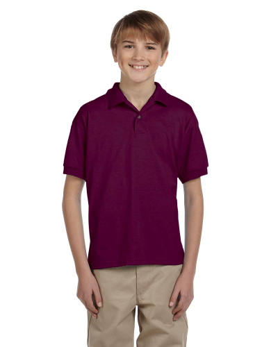 Maroon DryBlend Youth 5.6 oz., 50/50 Jersey Polo as seen from the front
