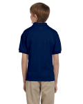 Navy DryBlend Youth 5.6 oz., 50/50 Jersey Polo as seen from the back