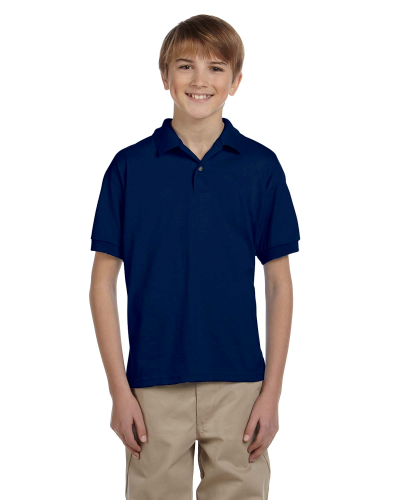Navy DryBlend Youth 5.6 oz., 50/50 Jersey Polo as seen from the front