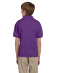Purple DryBlend Youth 5.6 oz., 50/50 Jersey Polo as seen from the back