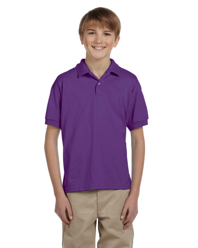 Purple DryBlend Youth 5.6 oz., 50/50 Jersey Polo as seen from the front
