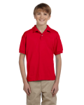 Red DryBlend Youth 5.6 oz., 50/50 Jersey Polo as seen from the front