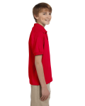 Red DryBlend Youth 5.6 oz., 50/50 Jersey Polo as seen from the sleeveleft