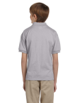 Sport Grey DryBlend Youth 5.6 oz., 50/50 Jersey Polo as seen from the back
