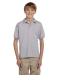 Sport Grey DryBlend Youth 5.6 oz., 50/50 Jersey Polo as seen from the front