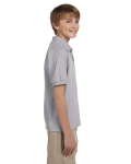 Sport Grey DryBlend Youth 5.6 oz., 50/50 Jersey Polo as seen from the sleeveleft
