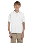 White DryBlend Youth 5.6 oz., 50/50 Jersey Polo as seen from the front