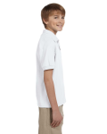 White DryBlend Youth 5.6 oz., 50/50 Jersey Polo as seen from the sleeveleft
