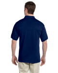 Navy DryBlend™ 6 oz., 50/50 Jersey Polo with Pocket as seen from the back