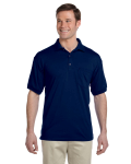 Navy DryBlend™ 6 oz., 50/50 Jersey Polo with Pocket as seen from the front