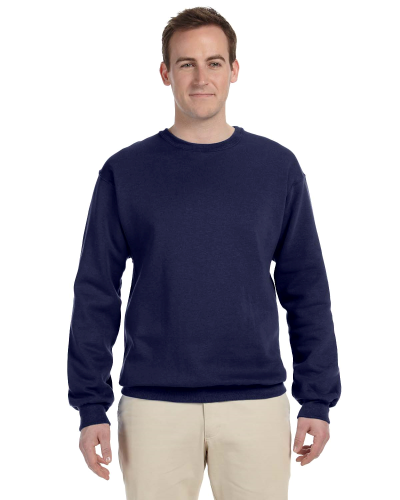 Navy 9.5 oz. Ultra Cotton 80/20 Fleece Crew as seen from the front