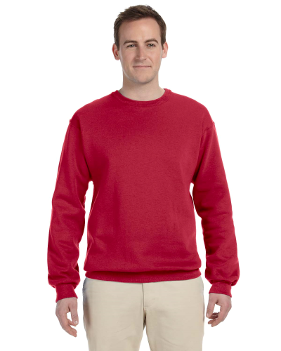 Red 9.5 oz. Ultra Cotton 80/20 Fleece Crew as seen from the front