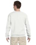 White 9.5 oz. Ultra Cotton 80/20 Fleece Crew as seen from the back