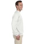 White 9.5 oz. Ultra Cotton 80/20 Fleece Crew as seen from the sleeveleft
