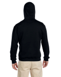 Black Premium Cotton; 9 oz. Ringspun Hooded Sweatshirt as seen from the back