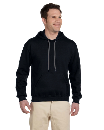 Black Premium Cotton; 9 oz. Ringspun Hooded Sweatshirt as seen from the front