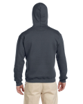 Charcoal Premium Cotton; 9 oz. Ringspun Hooded Sweatshirt as seen from the back