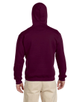 Maroon Premium Cotton; 9 oz. Ringspun Hooded Sweatshirt as seen from the back