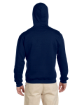 Navy Premium Cotton; 9 oz. Ringspun Hooded Sweatshirt as seen from the back