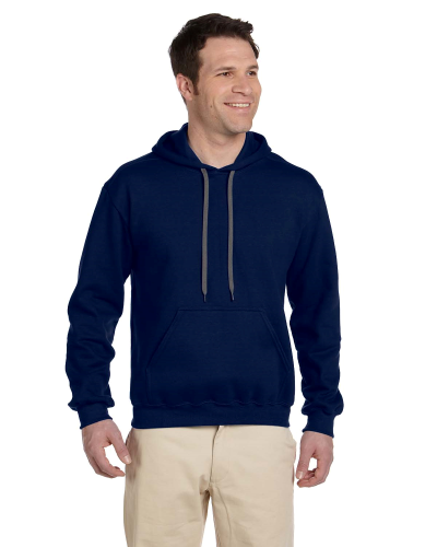 Navy Premium Cotton; 9 oz. Ringspun Hooded Sweatshirt as seen from the front