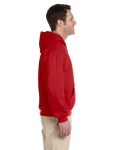 Red Premium Cotton; 9 oz. Ringspun Hooded Sweatshirt as seen from the sleeveleft