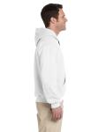 White Premium Cotton; 9 oz. Ringspun Hooded Sweatshirt as seen from the sleeveleft
