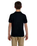 Black DryBlend Youth 6.5 oz. Piqué Sport Shirt as seen from the back
