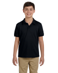 Black DryBlend Youth 6.5 oz. Piqué Sport Shirt as seen from the front