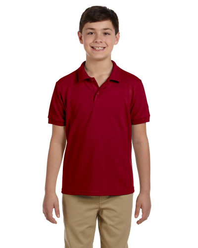 Cardinal Red DryBlend Youth 6.5 oz. Piqué Sport Shirt as seen from the front