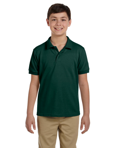 Forest Green DryBlend Youth 6.5 oz. Piqué Sport Shirt as seen from the front