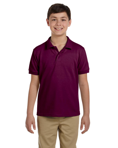 Maroon DryBlend Youth 6.5 oz. Piqué Sport Shirt as seen from the front