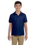 Navy DryBlend Youth 6.5 oz. Piqué Sport Shirt as seen from the front