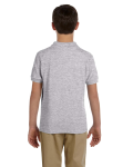 Sport Grey DryBlend Youth 6.5 oz. Piqué Sport Shirt as seen from the back