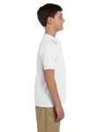 White DryBlend Youth 6.5 oz. Piqué Sport Shirt as seen from the sleeveleft
