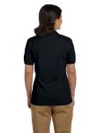 Black DryBlend Ladies' 6.5 oz. Piqué Sport Shirt as seen from the back