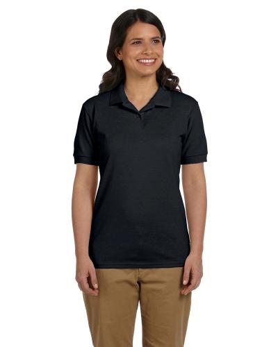 Black DryBlend Ladies' 6.5 oz. Piqué Sport Shirt as seen from the front